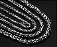3/4/5/6/8/10mm Mens Chain Silver Tone Wheat Link Stainless Steel Necklace Gift