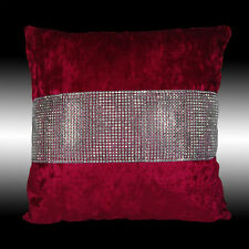 SHINY BLING SILVER RED THICK SOFT VELVET THROW PILLOW CASE CUSHION COVER 17""