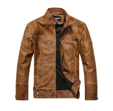 Men's Faux leather Motorcycle Coats Jackets Washed Leather Coat XS