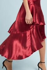Anthropologie Sz L Tiered Satin Maxi Skirt Red Moulinette Soeurs Size Large NWT