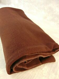 "Vintage Authentic PENDLETON WOOL BLANKET  60 x 87"" Solid Color Chocolate Brown"