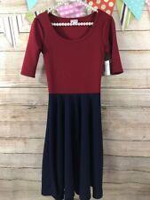 LuLaRoe Nicole Dress Pleated Scoop Neck Extra Small XS red Navy Blue PATRIOTIC