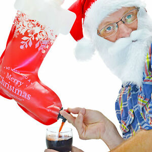 Updated Holiday Stocking Wine Dispenser Bag Hangover Christmas Festive Party NEW