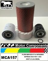 FILTER SERVICE KIT MITSUBISHI EXPRESS VAN 4D56T 2.5L TURBO DIESEL 1991 > 2003