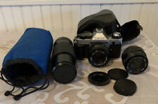 Canon AE -1 35 mm Film Camera With Lenses And Case Tested And Working!
