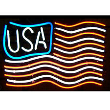 "New American Usa Flag Bar Cub Party Light Lamp Decor Neon Sign 17""x14"""