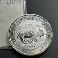 2015 Canada $8 Canadian Bison 1.25 oz 1 1/4 oz .9999 Fine Silver Bullion Coin
