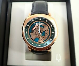MENS BULOVA ACCUTRON II 97A122 ROSE GOLD SPACEVIEW WRISTWATCH WATCH W/ BOX