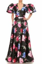 VAVA VOOM Large Stunning Puff Sleeve Floral Print Gracia Flare Maxi Dress RT$155