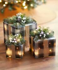 Set 3 Lighted Black Plaid Christmas Gift Boxes Presents Table Holiday Home Decor