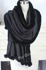 WOOL RECTANGLE SHAWL WITH 100% RABBIT FUR TRIMS AND POMPOMS BLACK/SILVER