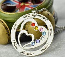 Halskette Herz mit Namens-Gravur Sterlingsilber Familie Namenskette Stammbaum
