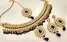 Indian Ethnic Bollywood Gold Plated Kundan Fashion Bridal Jewelry Necklace Set