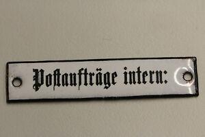 altes Emailleschild  Deutsche Post Reichspost Postaufträge intern: Emailschild