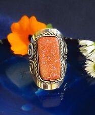 Goldstone Brown Ethno Inka Maya Native Style 02 ~ Ring Alpaca Neusiilber