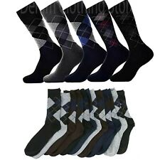 Men's Fashion Argyle Pattern Lot 6 12 pairs Cotton Blend Dress Socks 9-11 10-13