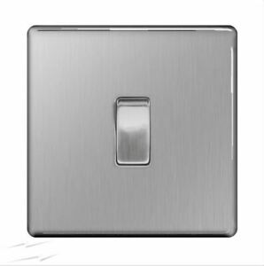 BG FBS12 Brushed Steel Single Light Switch 1 Gang 2 Way Screwless Flatplate