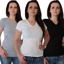 Damen T Shirt Unterhemd V Hemd Top 100% Baumwolle schwarz weiss grau S bis XXXL