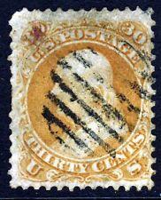 USA 1861 30c. Orange Benjamin Franklin No Grill SG 67 VFU