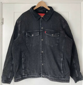 Levis Straus Mens Black Denim Sherpa Jacket With Corduroy Collar Size L