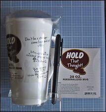 Signature Personalized MUG HOLD THAT THOUGHT pen 20 oz retirement wedding unused