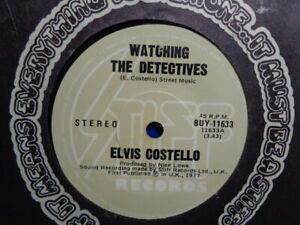 """Elvis Costello & The Attractions """"Watching The Detectives"""" 1977 STIFF Oz 7""""45rpm"""