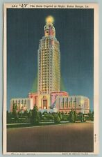 Baton Rouge Louisiana~The State Capitol At Night~Vintage Postcard