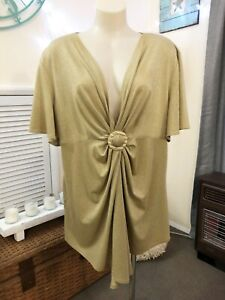 DONNA-CLAIRE donna claire GOLD LUREX EVENING TOP plus 20 Draped dress BLOUSE