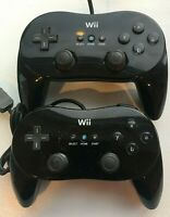 Lot of 2x Nintendo Wii Black Classic Pro Controller RVL-005 AUTHENTIC | TESTED