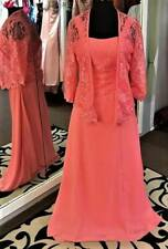 2 Piece Coral Pink Lace Bridesmaid MOB Evening Cruise Dress & Jacket Size 8