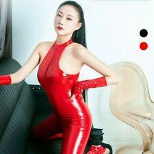 Damen Kunstleder Body Catsuit Trikot Lack-Optik Reißverschluss Ärmellos Glove
