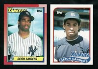 2 DEION SANDERS LOT 1989 TOPPS TRADED ROOKIE &1990 #61 NY YANKEES 1ST 2 BB CARDS