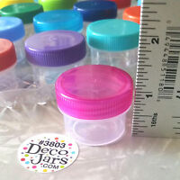 NEW 24 CLEAR Jars Color Lids 1/2 oz #3803 Container Makeup Sample Skin Herbs USA