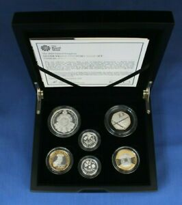 2014 Silver Piedfort Proof 6 coin Set in Case with COA & Outer Box