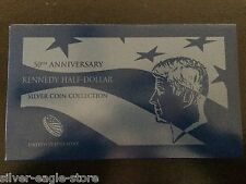 2014 50TH ANNIVERSARY KENNEDY HALF DOLLAR SILVER 4 COIN BOX COA NO COIN P D S W