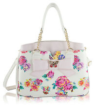 Betsey Johnson Butterfly Bow Triple Compartments Shoulder Tote Bag - Floral