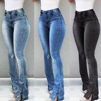 Women High Waist Retro Denim Jeans Stretch Slim Bell Bottom Pants Flare Trousers