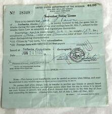 1950 Nonresident Fishing License Fairbanks Alaska No. 28349
