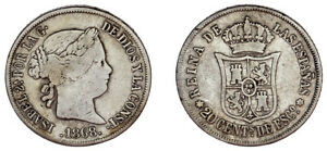 20 CENTS ISABELLA II - 20 CÉNTIMOS ESCUDO ISABEL II. Ag. MADRID 1868. VF / MBC.