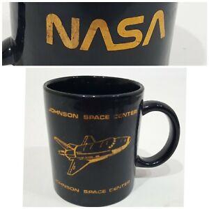 Vintage NASA Johnson Space Center Coffee Tea Mug Cup Black Gold Shuttle Ship