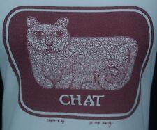 VTG 1978 RARE Woman's Ivory Taylor & Ng Le Chat Cat Yarn Mouse S/S T-Shirt -Sz S