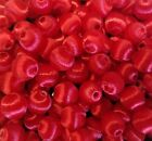 144 pcs Vintage Silk Thread Wrapped Craft Jewelry Beads 10mm Round Christmas Red