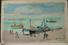 """Tableau Peinture Aquarelle PIERRE ABADIE LANDEL """" Douarnenez - Bretagne"""" PAL50"""