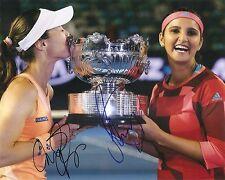 Sania Mirza Martina Hingis Champions TENNIS 8x10 Photo Dual Signed Auto COA