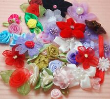 50/100/500 Pcs of assorted satin or organza ribbon flowers (free Shipping)