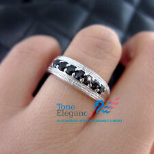 Genuine natural diamonds sapphire sterling silver engagement wedding ring sz7