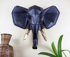 Walplus Faux Taxidermy Elephant Wall Mount Sculpture Art Home UK - Black Gold