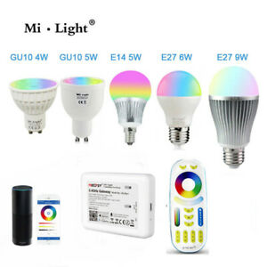 Milight RGB CCT Led Bulb Lamp E27 GU10 9W wifi Amazon Alexa Dimmable Spotlight
