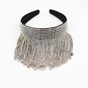 Baroque Women's Pearl Rhinestone Tassel Headband Crystal Hairband Accessories