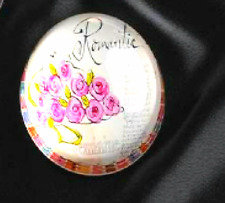 "JOYCE SHELTON GLASS PAPERWEIGHT- ""ROMANTIC"" DESIGN"